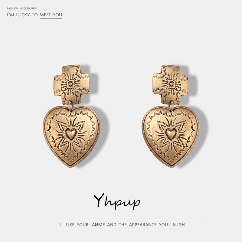 Yhpup Charms Vintage Antique Metal Heart Drop Earrings Retro Ethnic Exquisite Zinc Alloy Dangle Earrings Bijoux Femme Party Gift