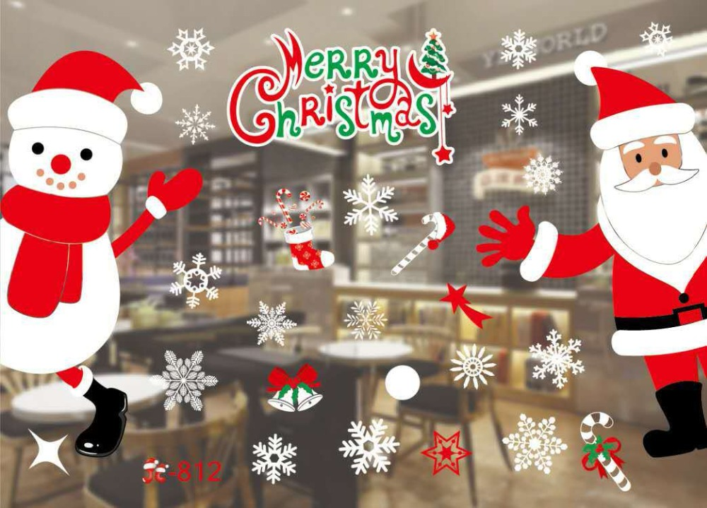 2018 decorative decal window stickers removable diy glass wall merry christmas snowflake santa deer sleigh ride sticker natal