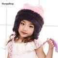 2017 Nueva de la muchacha de Moda Real de Punto de Piel de Conejo Rex Sombreros Niños Invierno Cálido Encanto Gorros Caps Sombrero estudiante bebé tapas