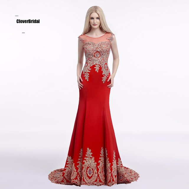 Formal Prom Dresses Long Ever Pretty Women Elegant Sweep train Red ...
