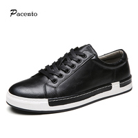 PACENTO 2017 Luxury Brand Breathable Men's Shoes Leather Men Casual Style Shoes for Man Lace-up Flat Mens Shoe Sapato Masculino
