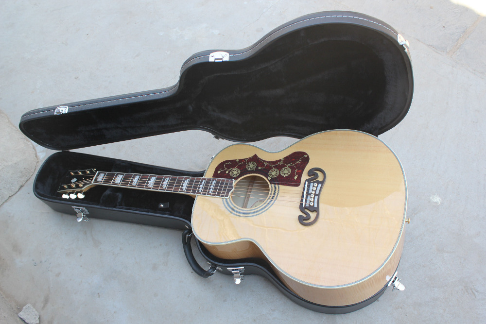 HOT Wholesale TOP quality Solid spruce Back / Side Tiger stripe folk Nature wood acoustic guitar WITH CASE