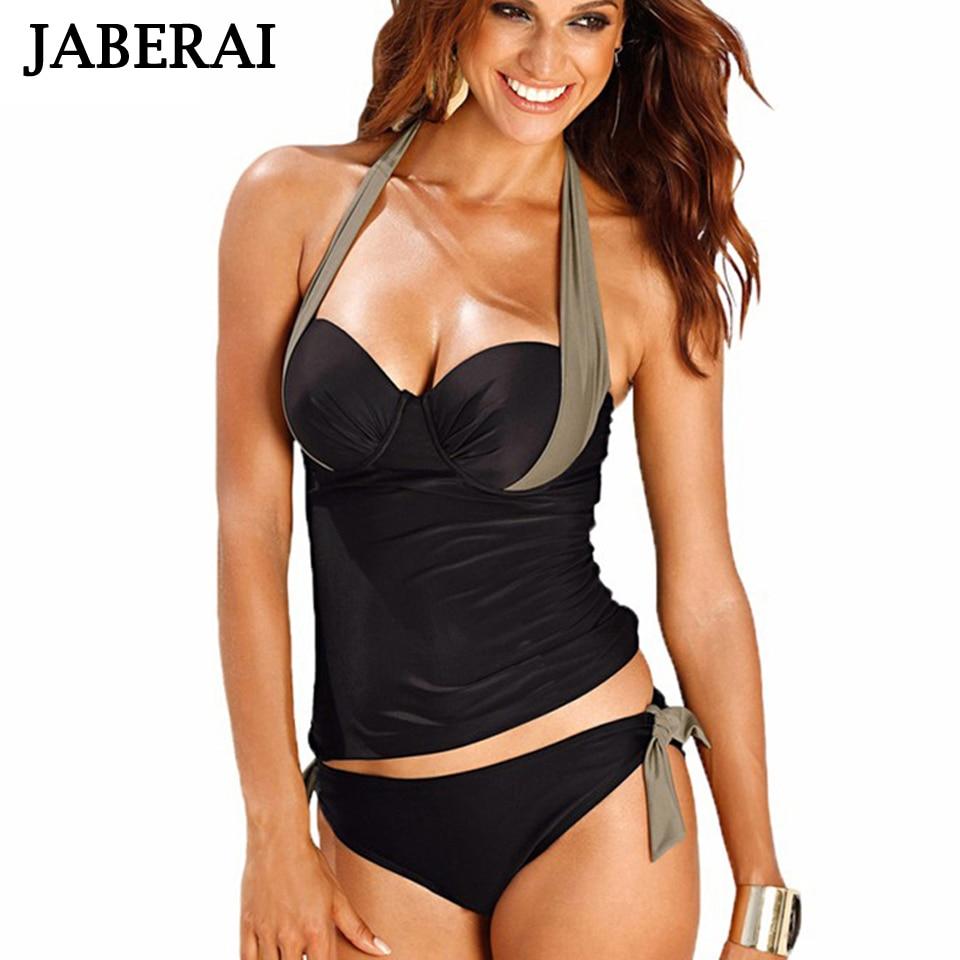 JABERAI Sexy Tankini Women Push Up Swimwear 2017 Strappy Swimsuit Sexy Black Bathing Plus Size Beachwear Body Shapes Style 7961 black blue women modern sexy one piece swimsuit skirt swimwear strappy plus size bathing suit for ladies push up beachwear 2017