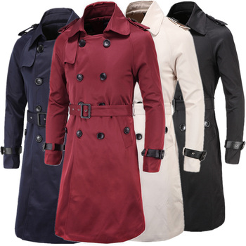 D019 high-end Men's Clothing Spring&Autumn long Overcoat double breasted Coat Cotton Blend Trench Coat