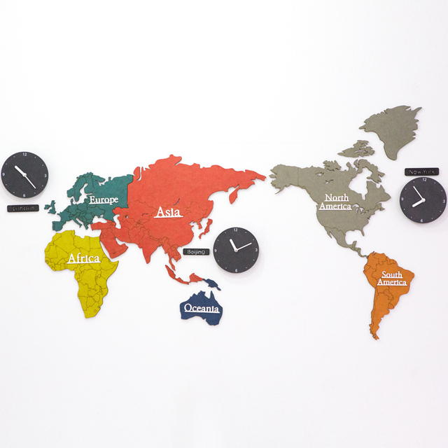 Creative Colorful World Map Clock Bedroom Mute Inch Wall Clock - Colorful world map