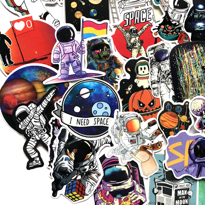50PCS Outer Space Stickers Toys For Children Alien UFO Astronaut Rocket Ship Planet Sticker To Scrapbooking Skateboard Laptop F5