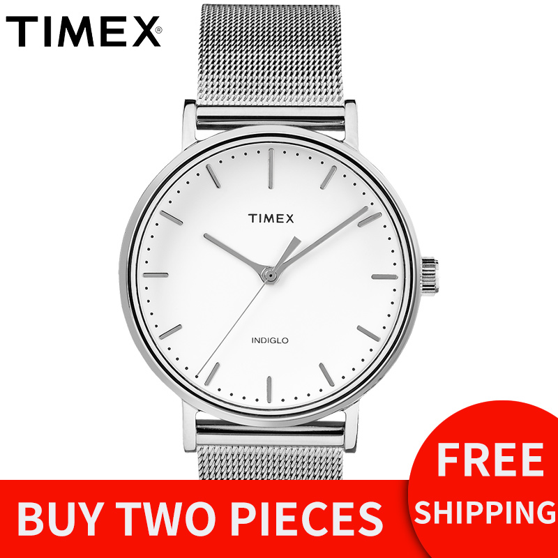2018 Promotion For Timex Original Mens Watches Fairfield Tw2r266 Silver Simple Steel Quartz Waterproof Back Light Unisex Watch