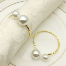 6PCS hotel set table wire towel buckle pearl napkin ring