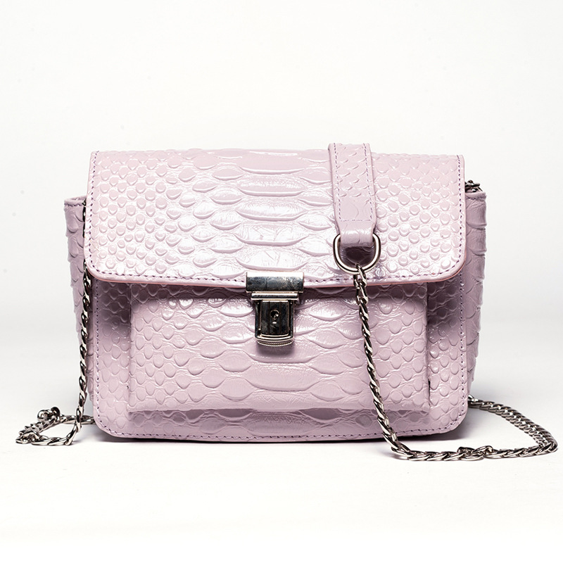 Women's Genuine Leather Crossbody Bags With Chains Small Lady Casual Messenger Bags Pink Color Fashion Women Shoulder Bags F543