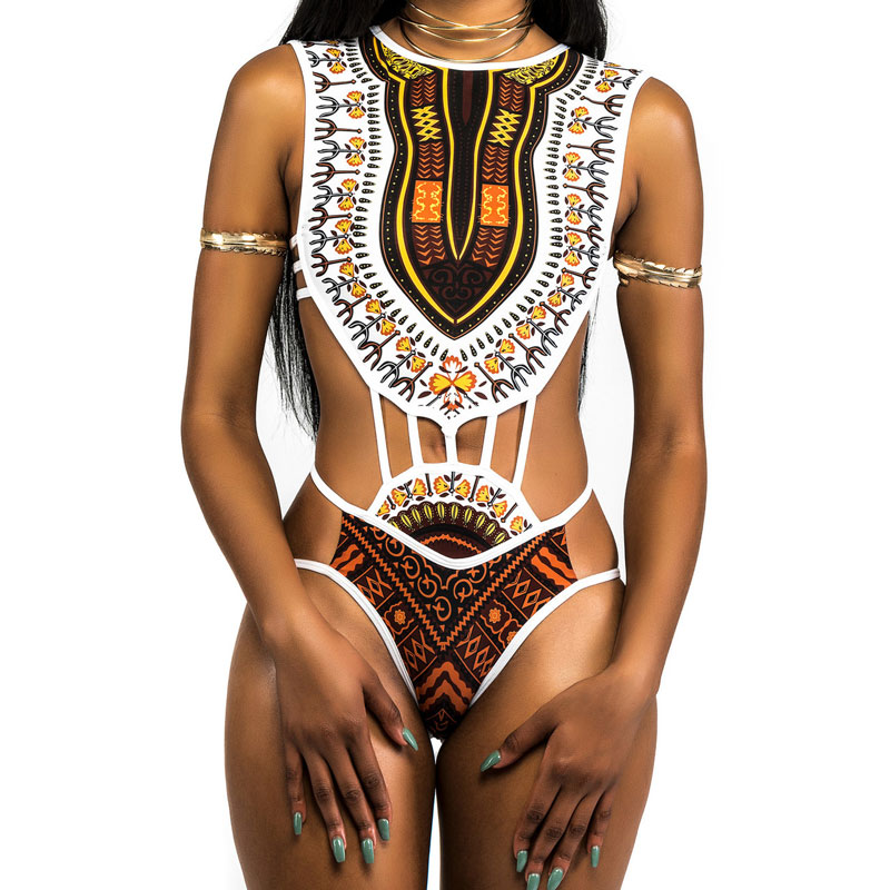 African Printed Swimwear One Piece Swimsuit