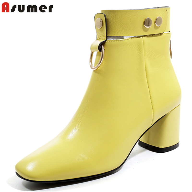 ASUMER big size 34-42 fashion ankle boots buckle genuine leather boots high heels women shoes classic ladies autumn winter boots цена