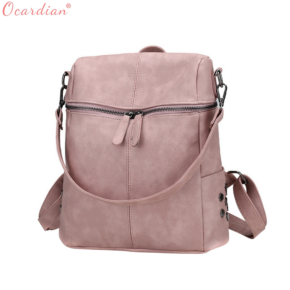 OCARDIAN Style Backpack Women PU Leather Backpacks For Teenage Girls School Bags Fashion Vintage Solid Shoulder Bag Black O13 simple preppy style backpack women pu leather backpacks for teenage girls school bags fashion vintage solid shoulder bag black