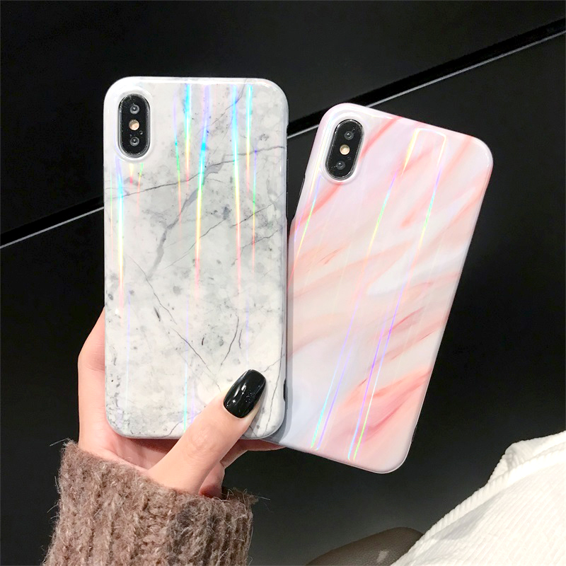 Marble Hologram Case for Iphone X Xs 8 7 6 6s Plus 8plus