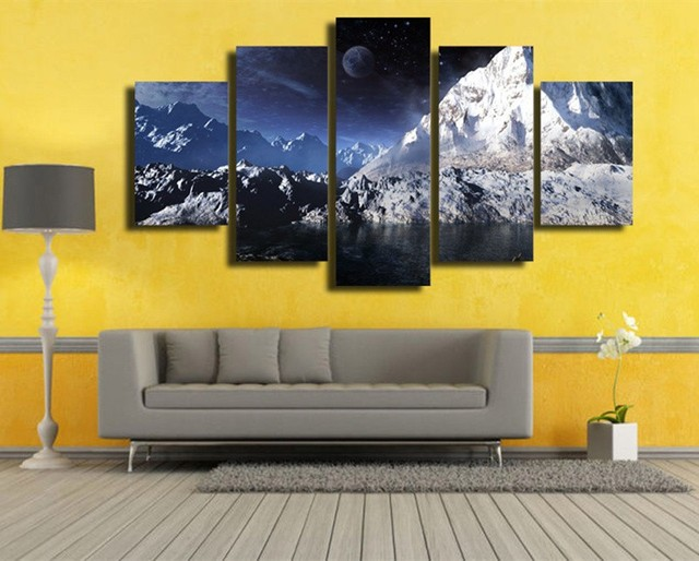 5 Piece Moon Snowy Mountains Wall Art Canvas Painting Blue Sky ...