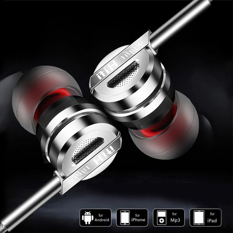 Kovinske slušalke 3,5 mm Hifi z žičnimi slušalkami z mikrofonom - Prenosni avdio in video - Fotografija 5