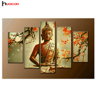 Diamond Painting Religious Buddha 5 Pcs Multi Picture Square Diamond Embroidery Rhinestones Diamond Mosaic Cross Stitch