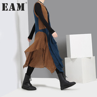 EAM 2017 New Autumn Round Neck Sleeveless Solid Color Black Gray Split Joint Irregular Dress