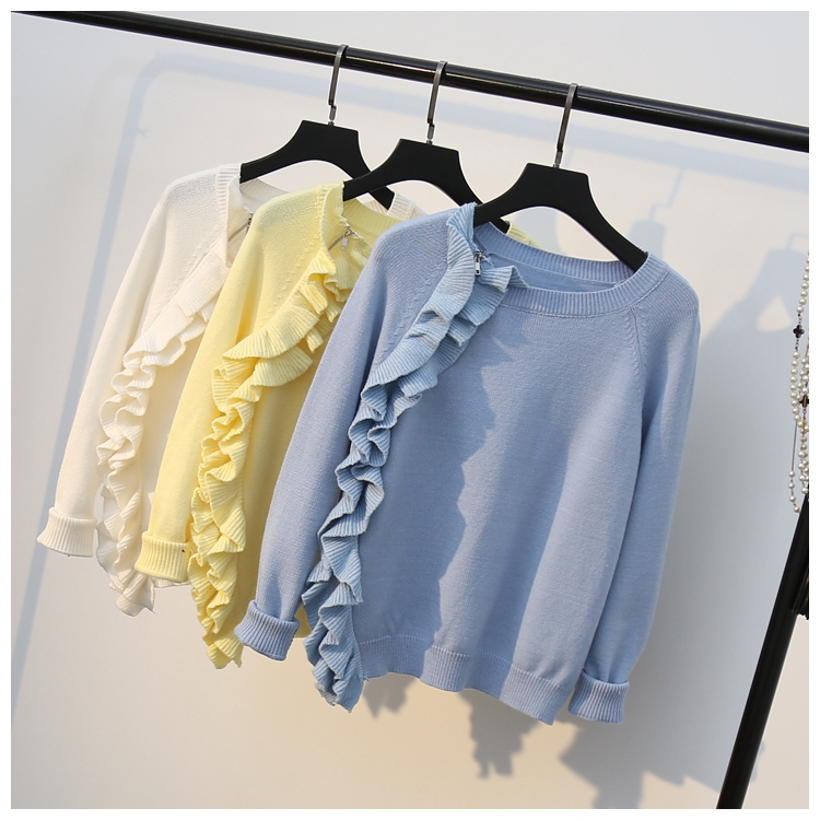 Asymmetric design zipper wood ear sweater female Korean new sweet fashion raglan sleeve bottoming knit shirt