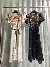 Runway Fashion Tulip Print Silk Dress 2019 Summer Black Off-white Short Sleeve Vintage Midi Dresses With Belt