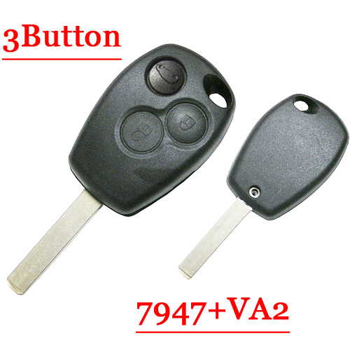 Free shipping 3 Button Remote Key With VA2 Blade Round Button pcf7947 chip for Renault 5pcs/lot