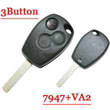 Frete grátis Botão do Controle Remoto Chave Com Lâmina VA2 3 Rodada Botão pcf7947 chip para Renault 5 pçs/lote