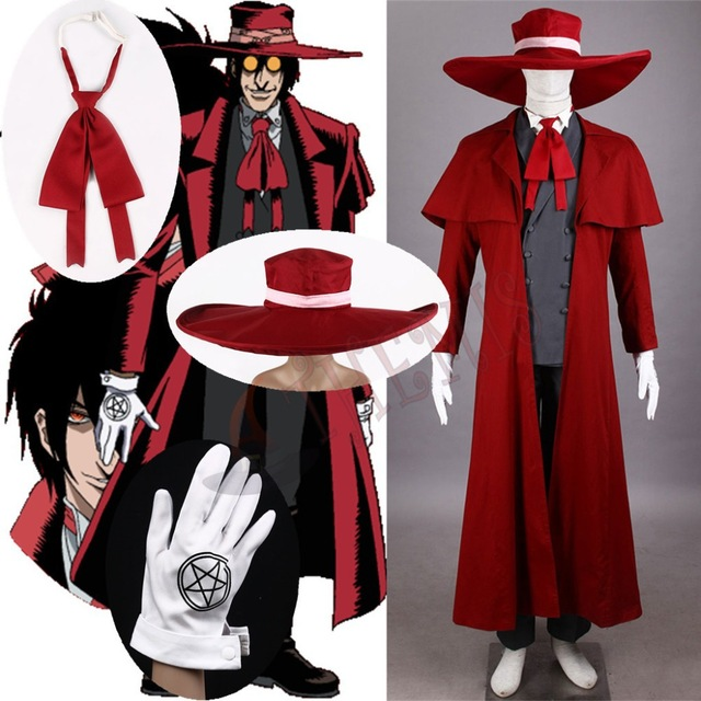 Anime Hellsing Alucard Cosplay Costume Ultimate Vampire Hunter Alucard Halloween Cosplay Costume Full Set Custom Made