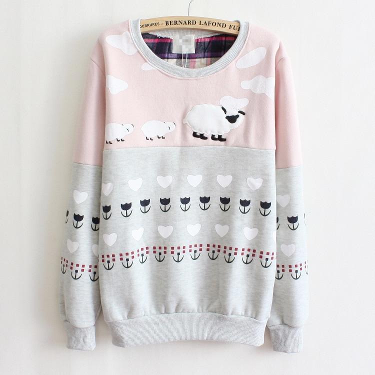 ... Sweatshirt Casual Hoodies Pullovers Patchwork Fashion Sale Warm Fleece  Cute Sheep Printed Sweatshirt Hoodie Women Hoody ... 88ba2bef59eb