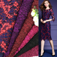 2017 New Thicker Yarn Lace Fabric Heavy Lace Fabric Embroidered Mesh Eyelash Lace Fabrics Purple Sewing