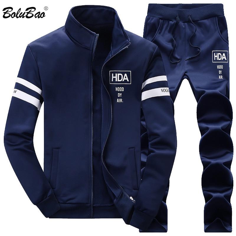 BOLUBAO Men Set Top+Pants 2-piece Set 2019 Spring Summer Male Suit Sweatshirt Sportswear Tracksuit Male Sporting Suits