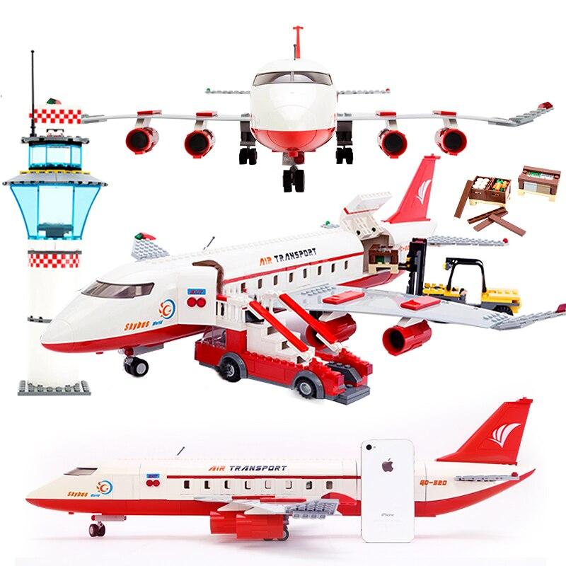 GUDI 856+PCS Block City Large Passenger Plane Airplane Block Assembly Building Blocks Educational Bricks Toys For Children Gift