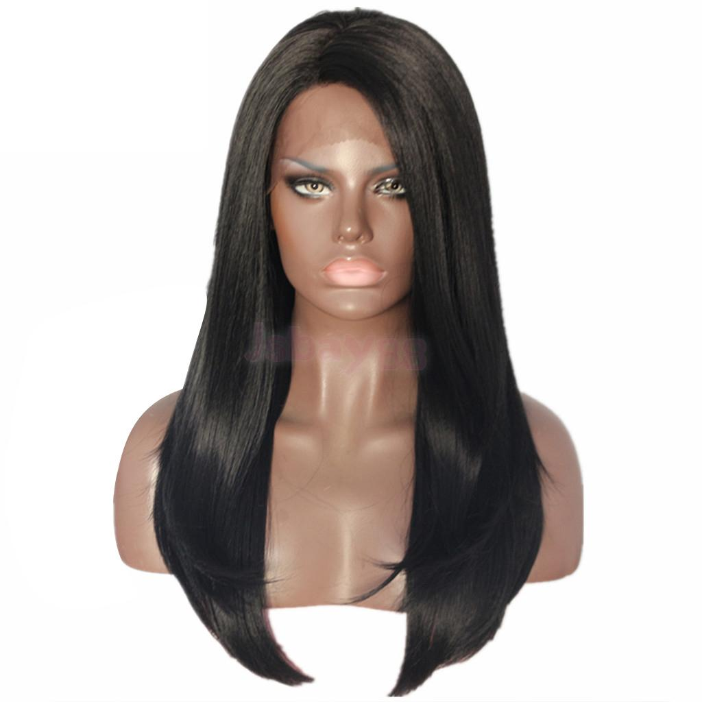 Natural Real Human Hair Black Long Straight Lace Front Wigs Full Hairpieces for Cosplay Costume Party nlw brazilian virgin human hair full lace wigs afro kinky curl glueless wigs page 8