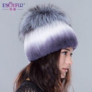 Image 2 - Женские меховые шапки ENJOYFUR, вязаные шапки из натурального меха Рекс и кроличьего меха серебристой лисы на зиму