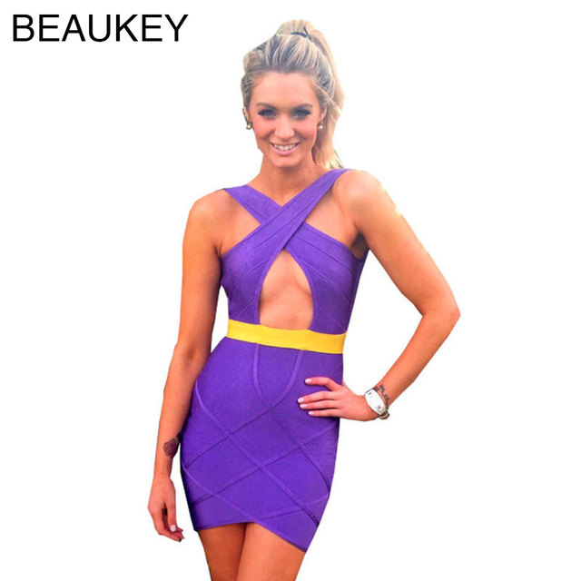 Keyhole Backless Bandage Dress Celebrity 2015 Sexy Bodycon Cocktail And Party  Dresses Purple Back Lilac And Gold 732067afdf42
