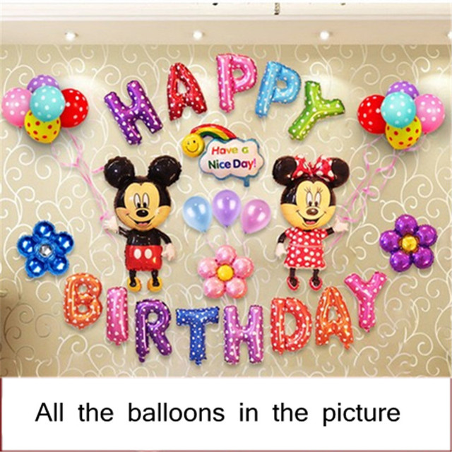 2 Sets Of Baby Birthday Decoration Balloon Set One Year Old Aluminum Cartoon Character Childrens