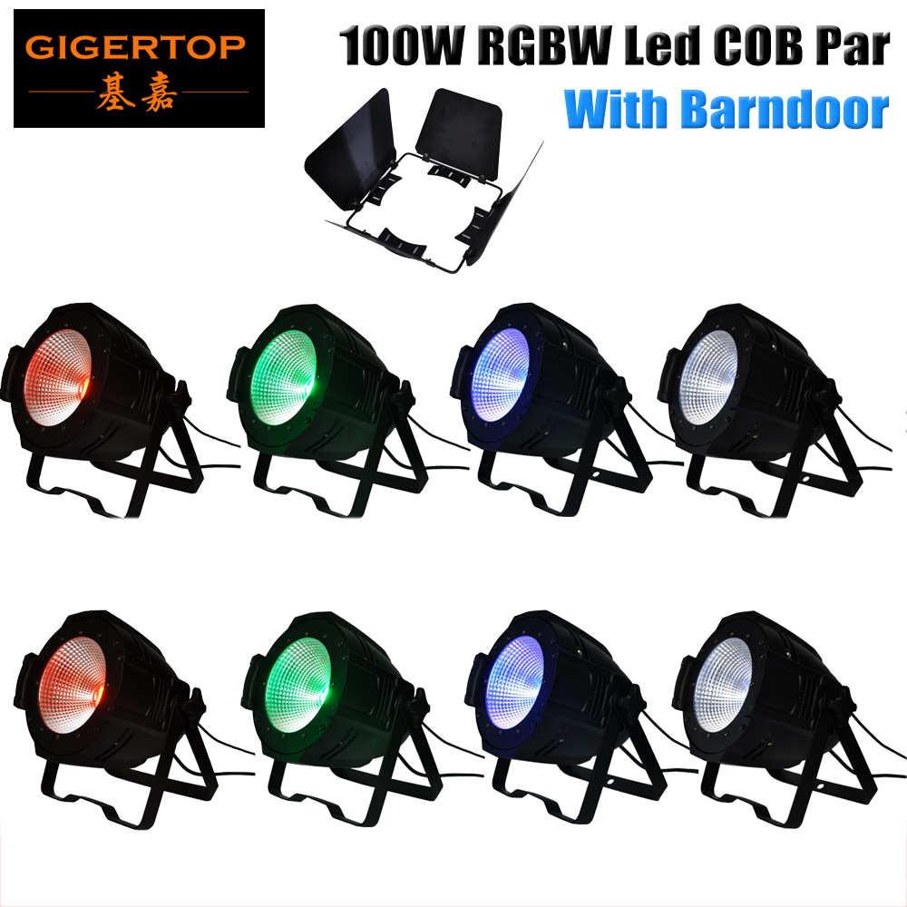 Freeshipping 8PCS 100W RGBW 4IN1 COB Aluminum Stage Led Par Cans 4/8 Channel DMX/Manual/Sound/Master-slave Barndoor Shade Baffle
