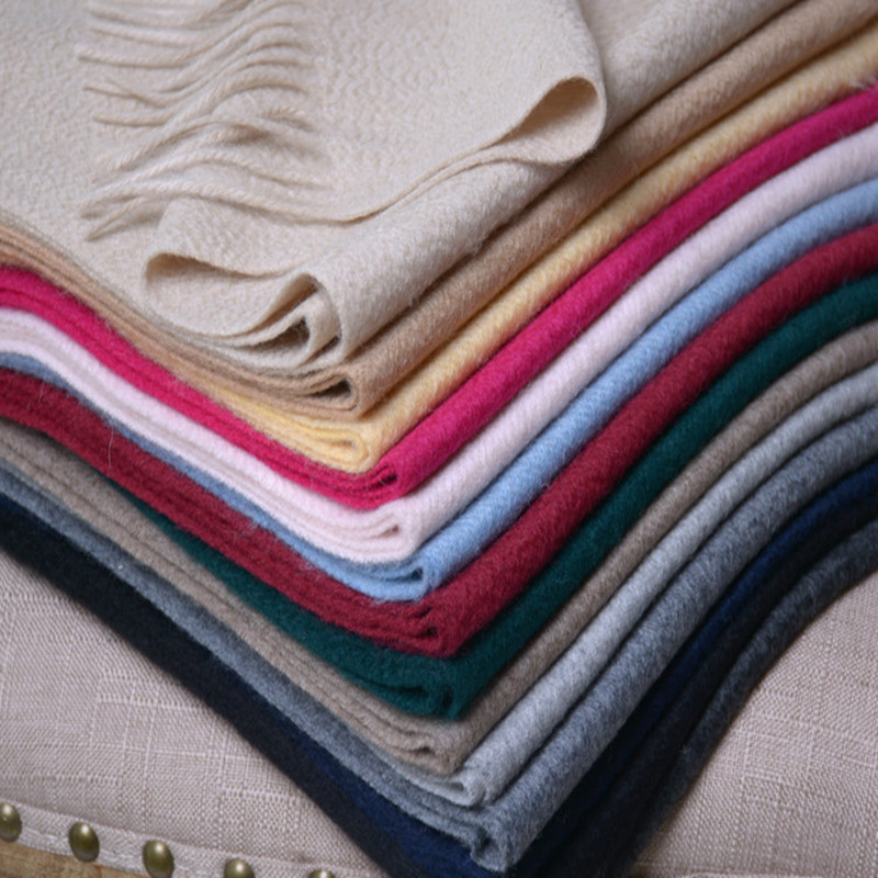 100%goat cashmere water ripple woven women thick long scarfs solid color 30x180cm