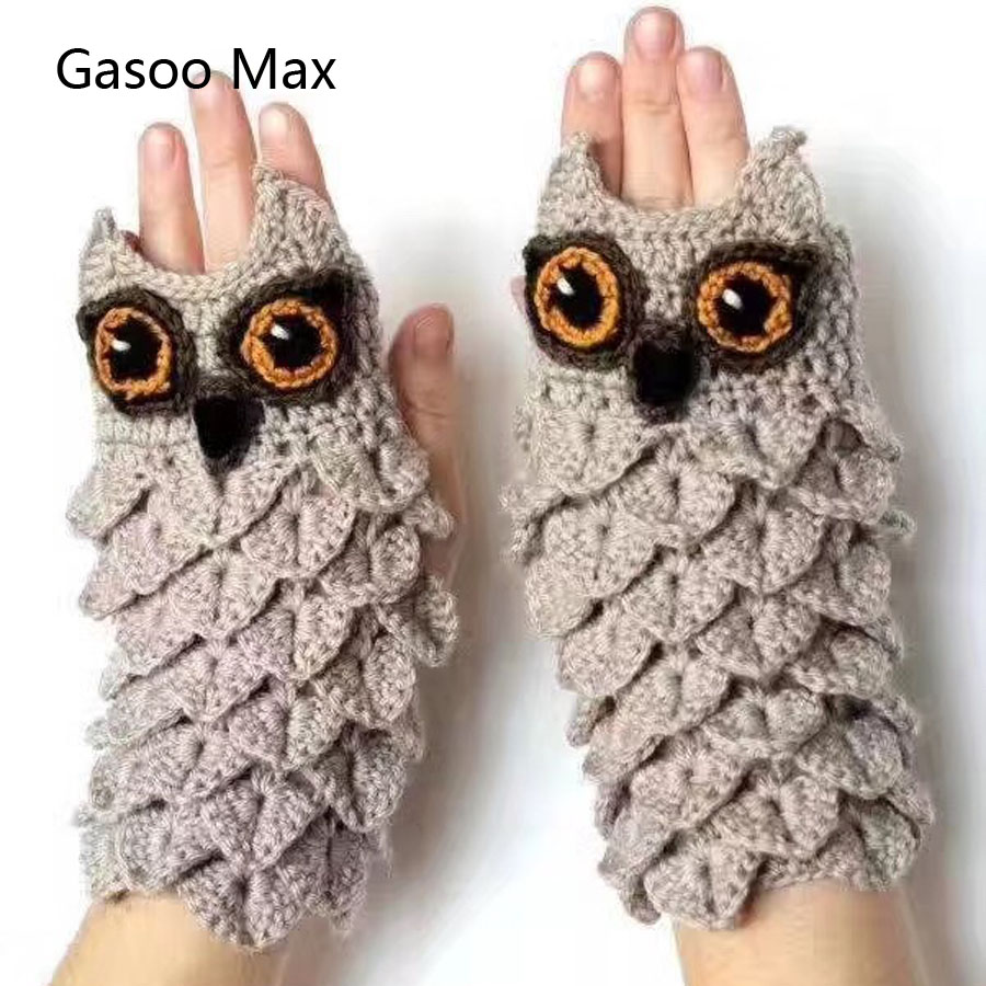 Adults And Children Winter Autumn Warm Hand Warmers Parents Kids Winter Lovely Cute Owl Knitted Gloves