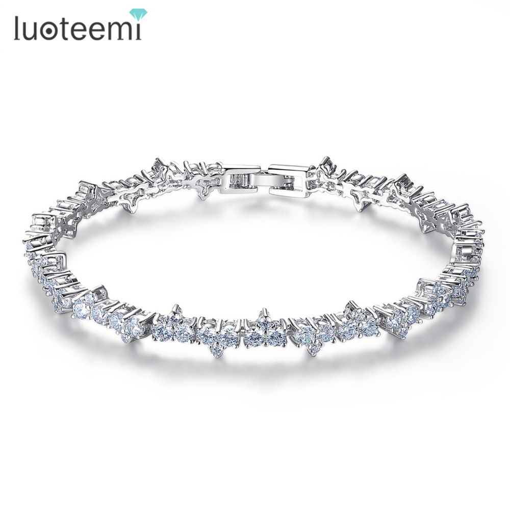 LUOTEEMI 2017 New Arrival Captivate Bar Bracelet Brilliant Pave Cubic Zirconia White Gold-Color Feminine Fashion Jewelry