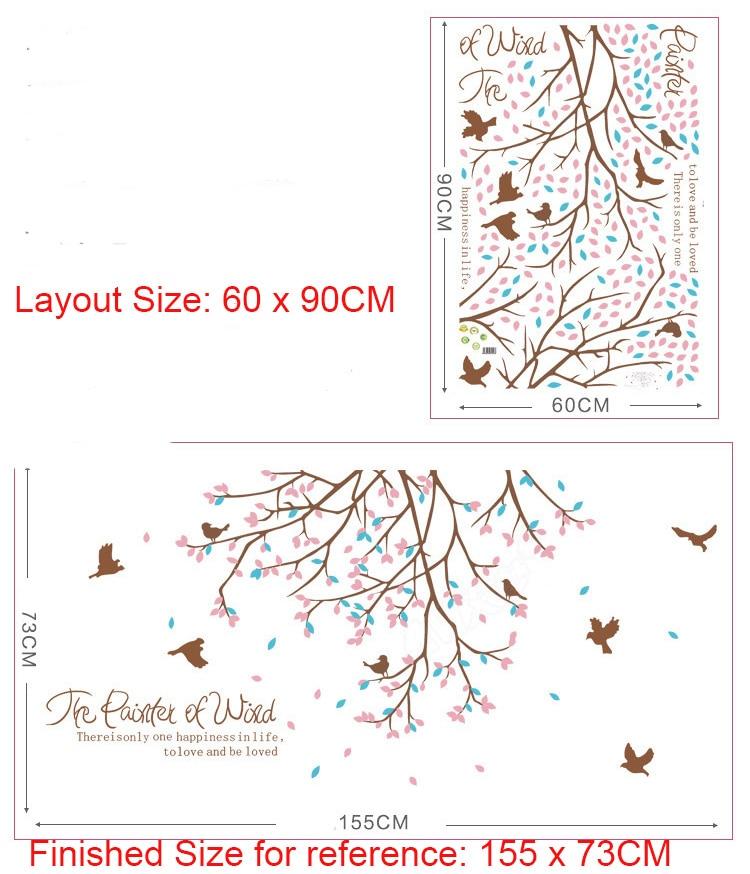 Les oiseaux Qui Volent parmi les Fleurs Arbre Branches Stickers Muraux  Salon Chambre Décor À La Maison Papier Peint Art Affiche Mur Graphique dans  Stickers