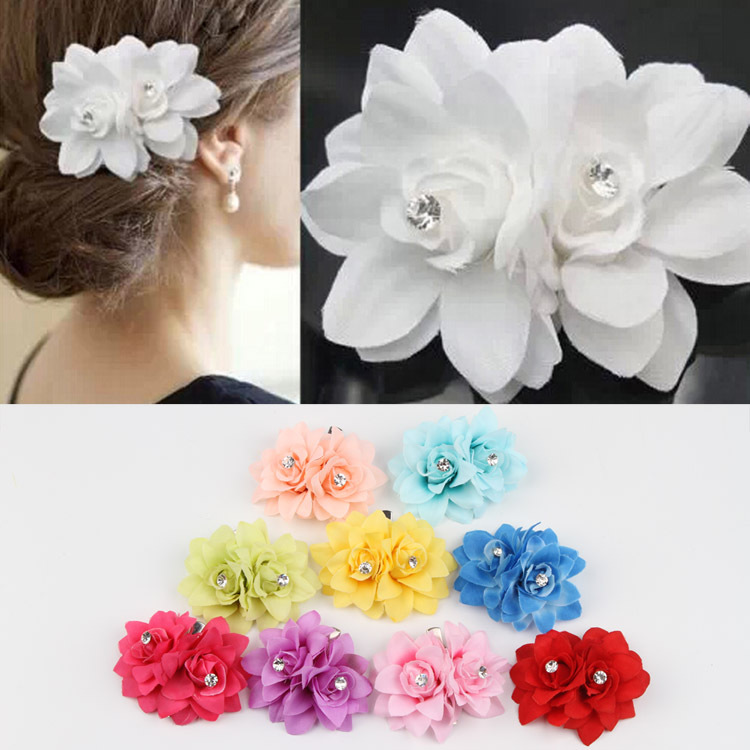 Fashion Hair Accessories Multi-colored Flowers Shaped Simulated Pearl  Woman Hairpin 9 Colors multi shaped hair comb set 10pcs