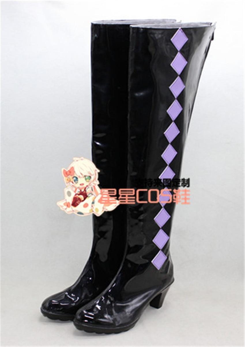 Puella Magi Madoka Magica Akemi Homura Black Purple Cosplay Shoes Boots X002