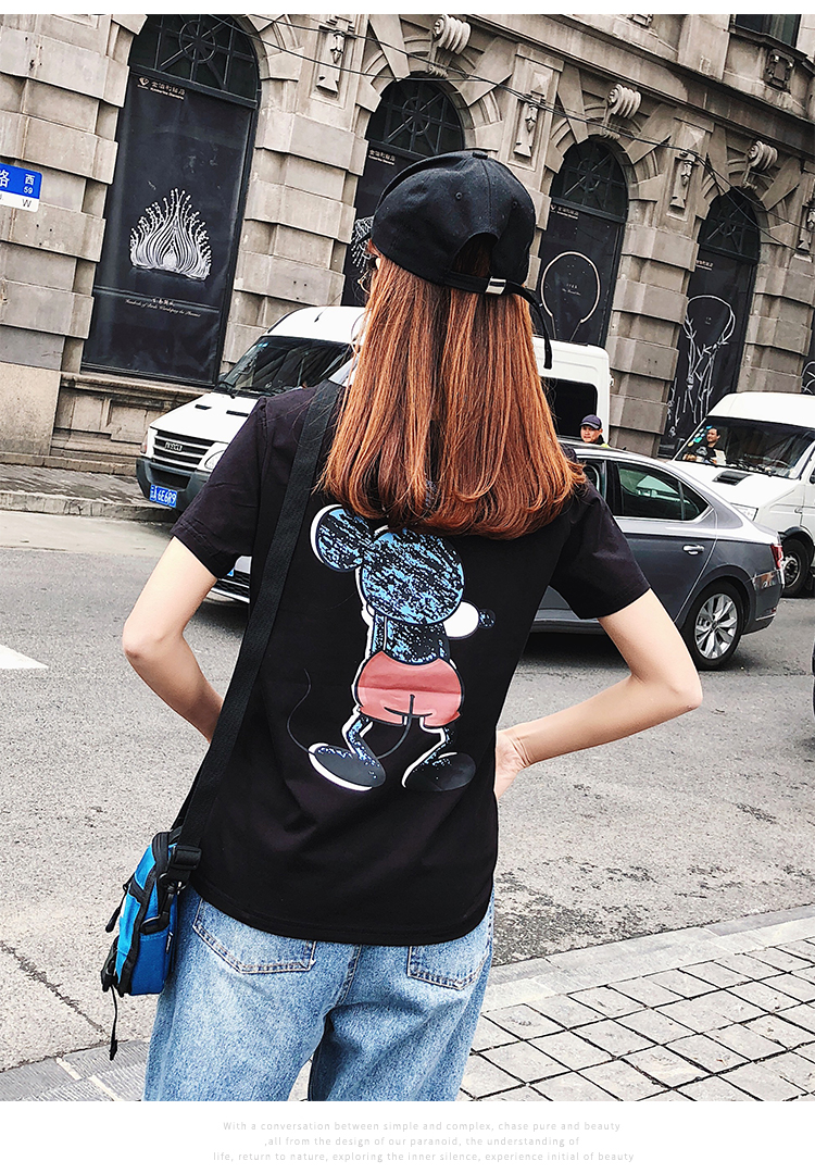 2019 Summer New Women's T-shirt Fashion Casual Mickey Mouse Printing Round Neck Short Sleeve Loose Female Tshirts 10