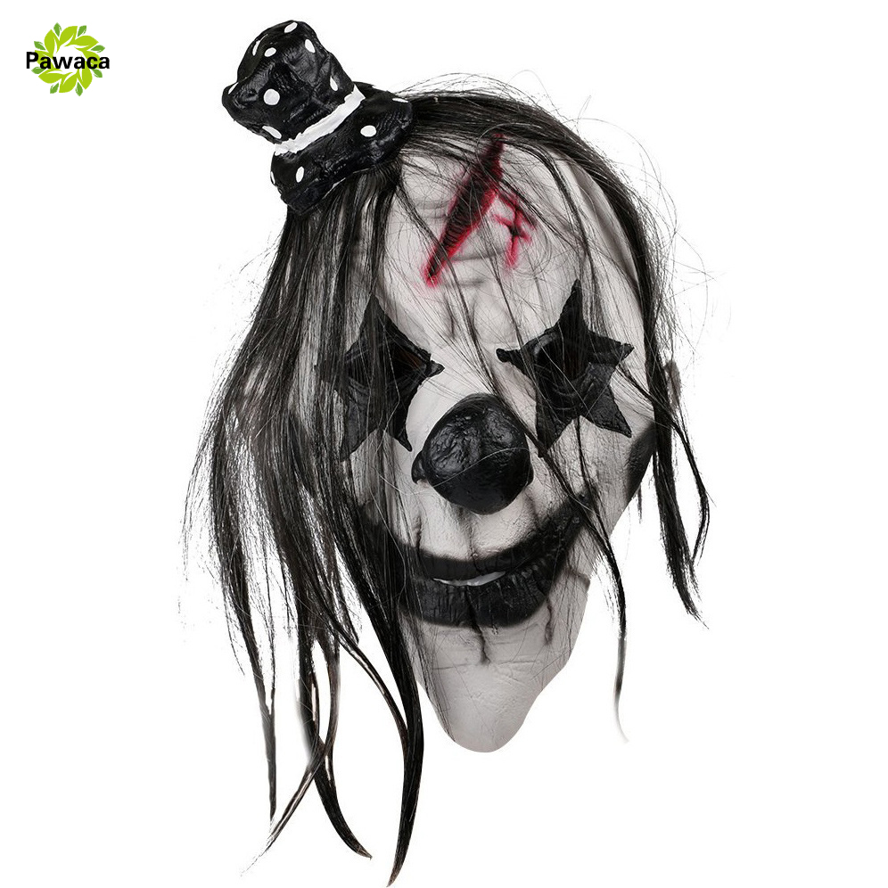 Pawaca Creepy Halloween Mask Scary Clown Latex Rubber Full Head Mask for Costume Party Black+White Cosplay mask