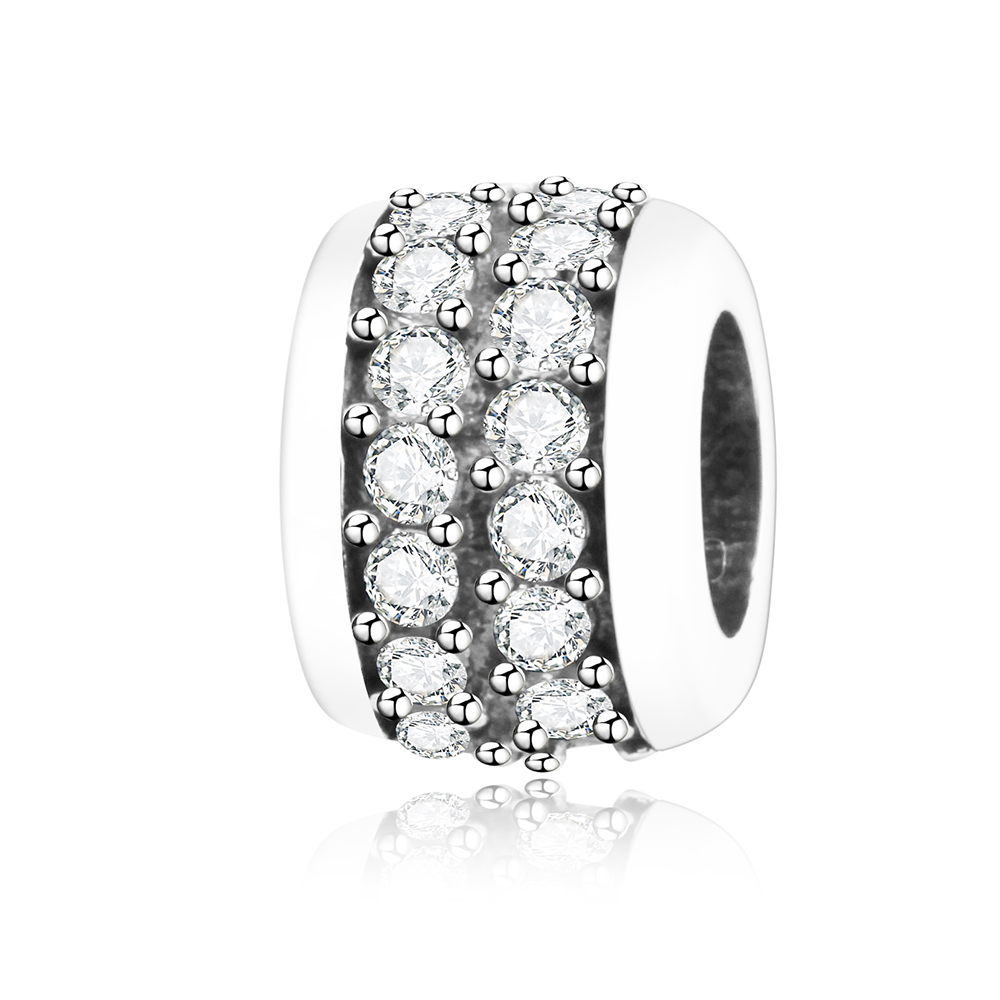 Authentic 925 Sterling Silver Middle White Zircon Stone Charms Beads Fit Original Pandora Charm Bracelet DIY Fashion Jewelry