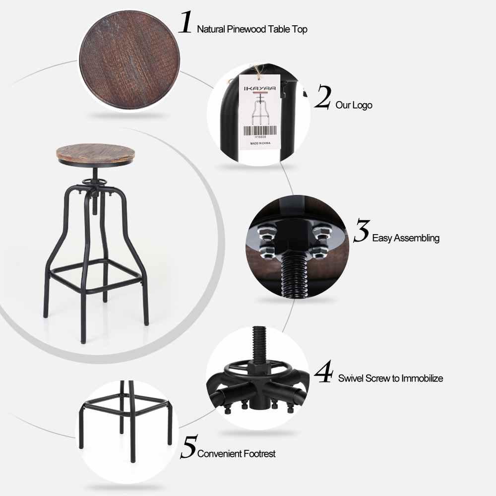 Корабль из США промышленный барный стул из натурального соснового дерева Топ Регулируемая высота поворотные стулья кафе стул для завтрака шезлонг скандинав