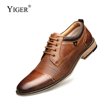 YIGER New 2019 Men Dress shoes Big size 41-50 Man Business Genuine Leather male Lace-up casual Spring/Autumn  0230