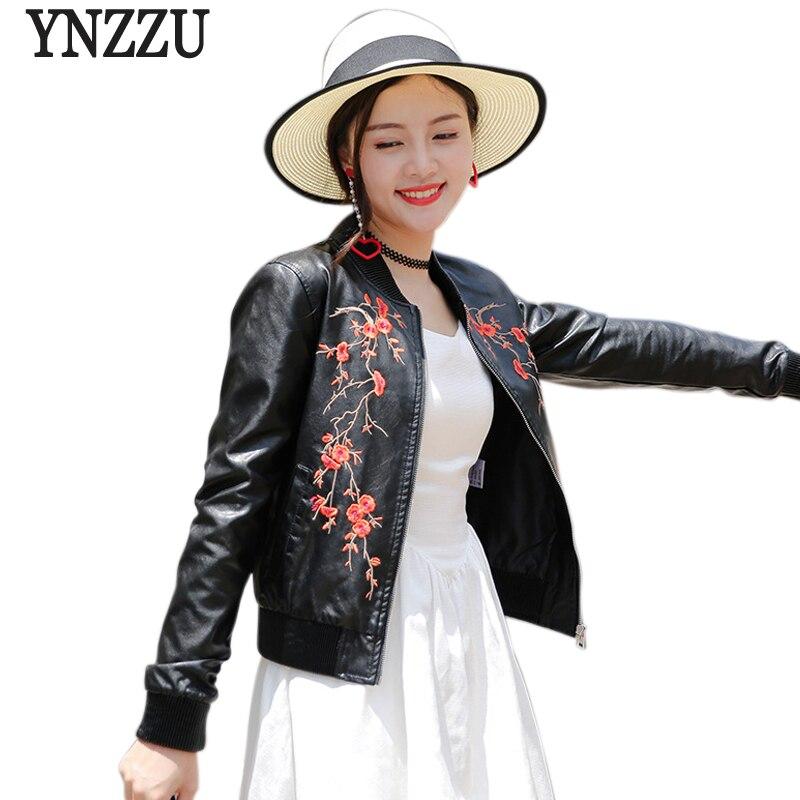 YNZZU Casual Embroidered Women   Leather   Jacket New Spring Autumn Long Sleeve Short Pink PU Bomber Jackets Women Outwears YO539