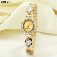 JUNYU Brand 18K Gold Crystal Strap Bracelet Watch Inlay Rhinestone Waterproof Quartz Dress Watches Fashion Clock
