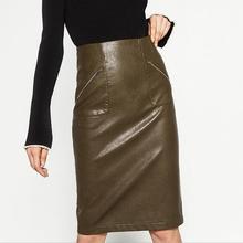 Women Skirts Winter Fashion PU Leather Skirts Vintage High Waist Package Hip Skirt Black Khaki Bodycon OL Midi Skirt