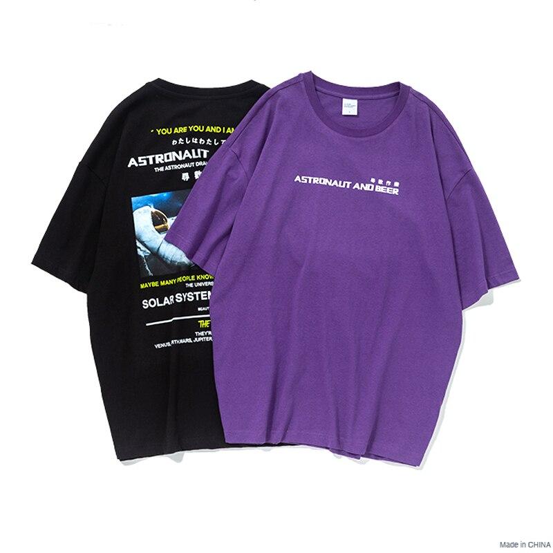 VFIVEUNFOUR 2019 New Arrivals Graphic Tees Loose T-shirt Men Summer Black purple T-shirts Printing Couple Skateboards Tshirt